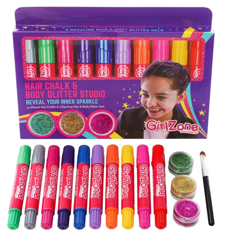 2.Face Pain Girl Zone Hair Chalk and Body Glitter