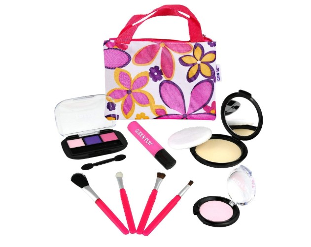 PM3 Click n Play Pretend Play Cosmetic and Makeup Set with Floral Tote Bag