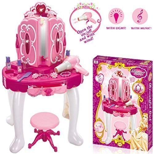 3.Vanity Dressing Table Denny International® Deluxe Girls Pink Musical Dressing Table Vanity Light Mirror Play Set Toy