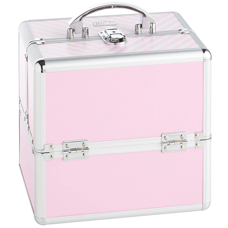 2. Girls Makeup Cases Beautify Aluminium Pink makeup case